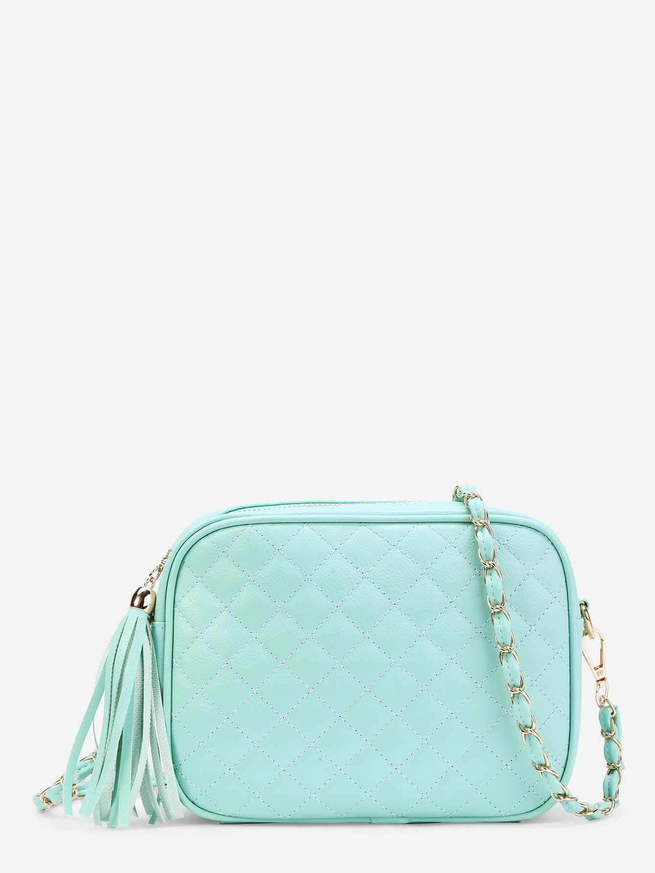Tassel Detail Quilted Crossbody Bag tassel detail straw crossbody bag