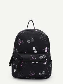 Cat Print Pocket Front Backpacks
