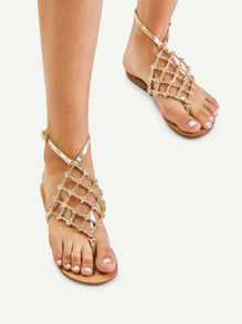 Rhinestone Detail Toe Post Sandals