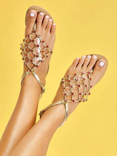 Strass Detail Toe Post Sandalen