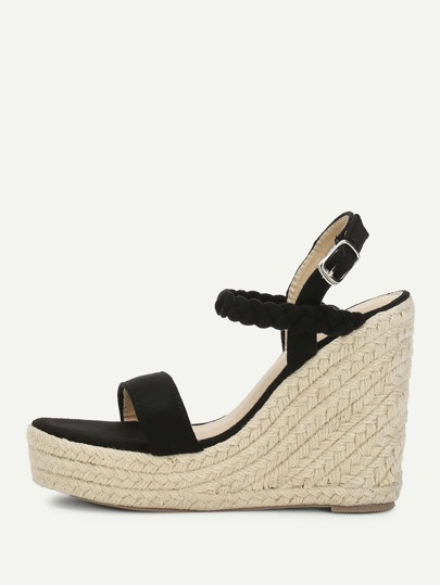 Woven Strap Platform Wedge Sandals