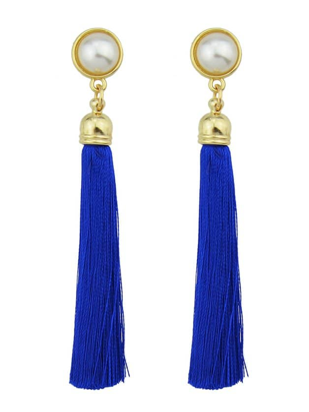 Blue Pearl Tassel Earrings цены онлайн