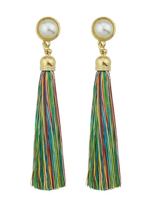 Colorful Pearl Tassel Earrings