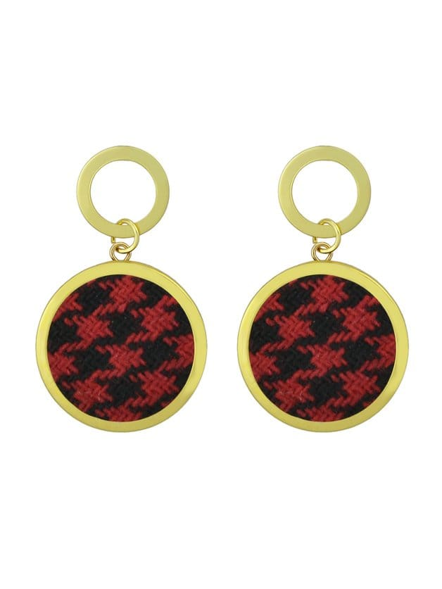 Round Houndstooth Pattern Earrings clip on earrings with mandala flower pattern round pendant