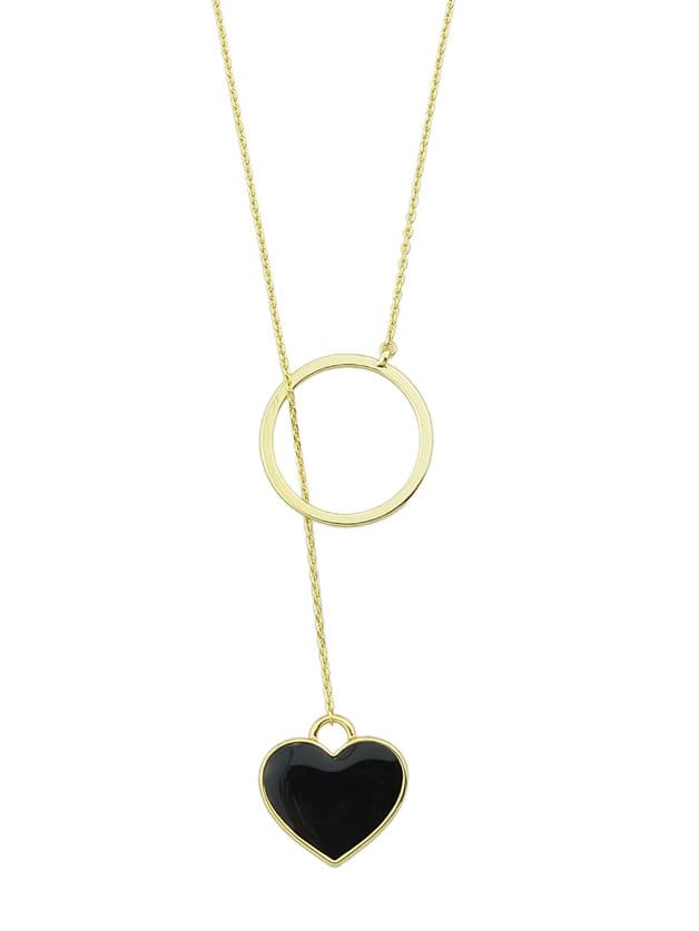 Black Dripping Love Sweater Chain love heart opening wings shape sweater chain