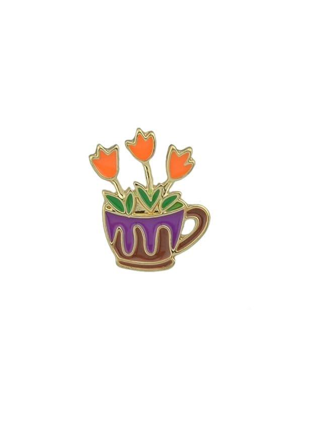 Orange Flower Grass Brooch все цены