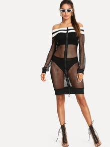 Zip Front Striped Trim Fishnet Dress