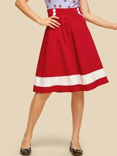 Button Accent Color Block Circle Skirt