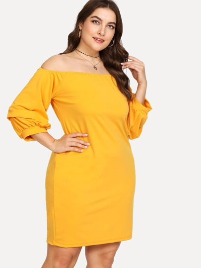 Gathered Sleeve Off Shoulder Dress
