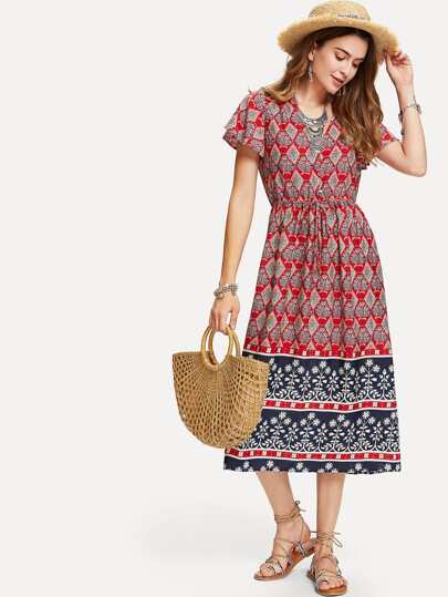Ornate Print Drawstring Waist Dress