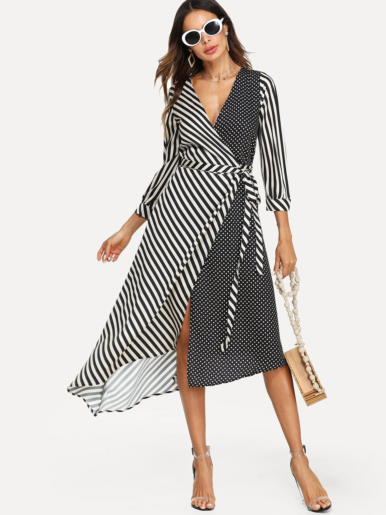 Mixed Print Surplice Wrap Dress mixed print surplice wrap jumpsuit