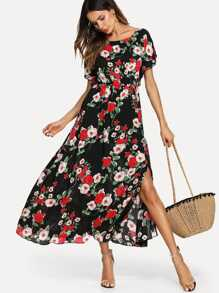 Flower Print Elastic Waist Dress