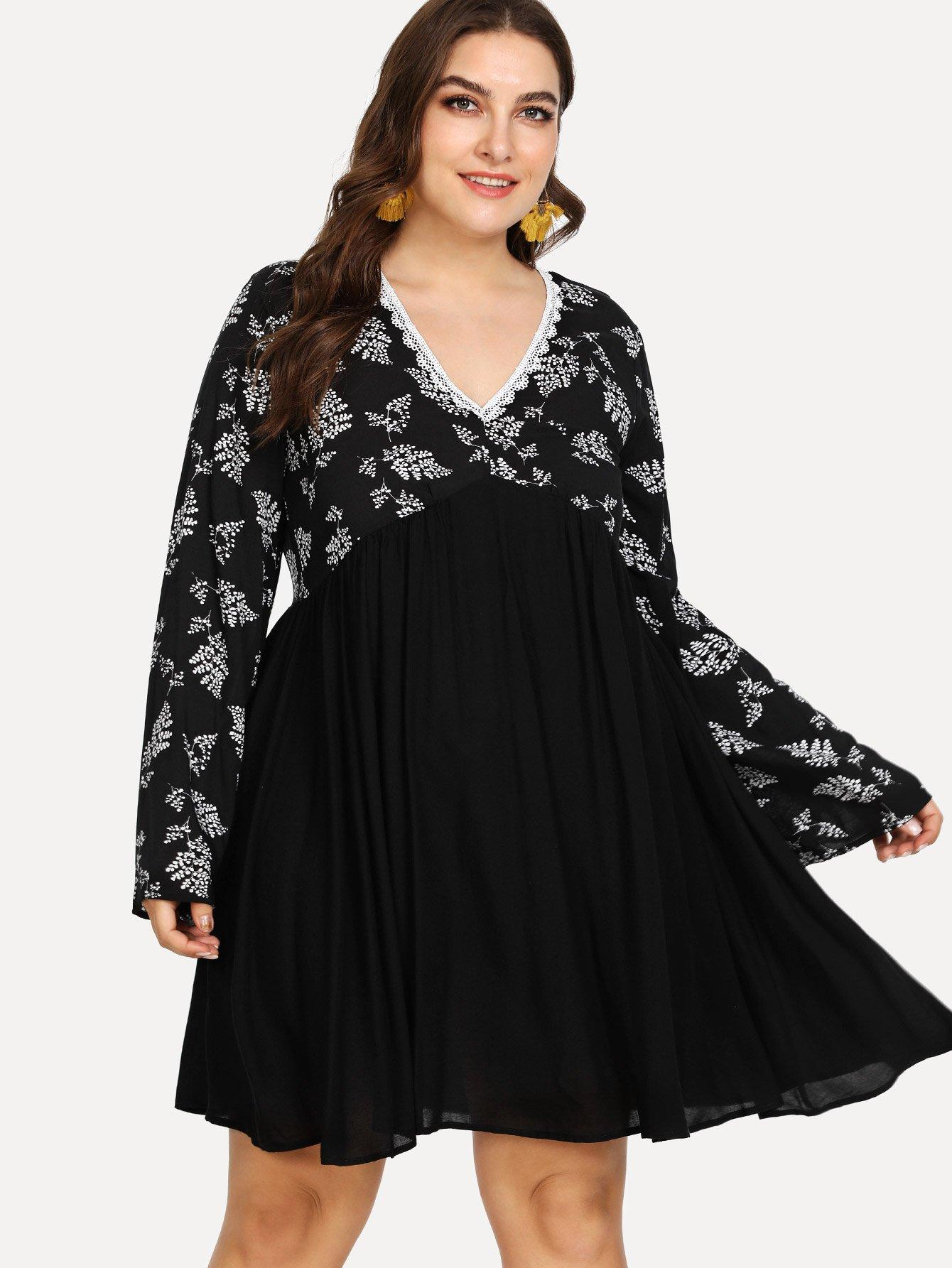все цены на Bell Sleeve High Waist Mix and Match Dress