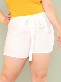 Plus Tie Waist Shorts WHITE