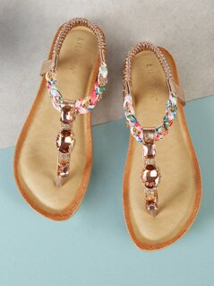 Jewel Embellished T-Strap Thong Sandal ROSE GOLD
