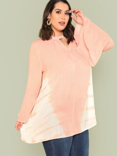 Plus Tie Dye Print Bell Sleeve Top with Keyhole Front LIGHT PEACH