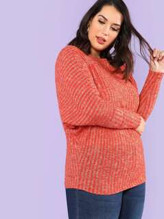 Plus Ribbed Knit Boat Neck Top with Dolman Sleeves RUST