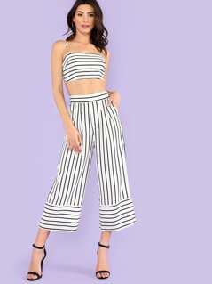 Striped Tie Back Crop Top with Wide Leg Pants
