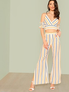 Striped Cold Shoulder Surplice Crop Top with Slit Palazzo Pants MULTI