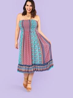 Plus Smocked Strapless Boho Print Dress BLUE RED
