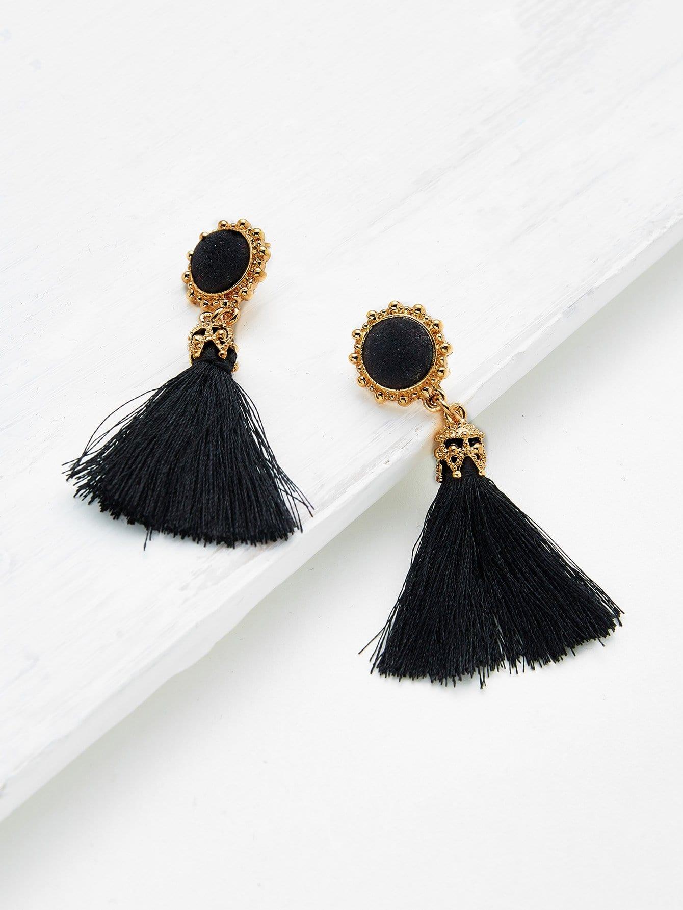 Crystal Detail Tassel Drop Earrings black sexy strappy lace lingerie set