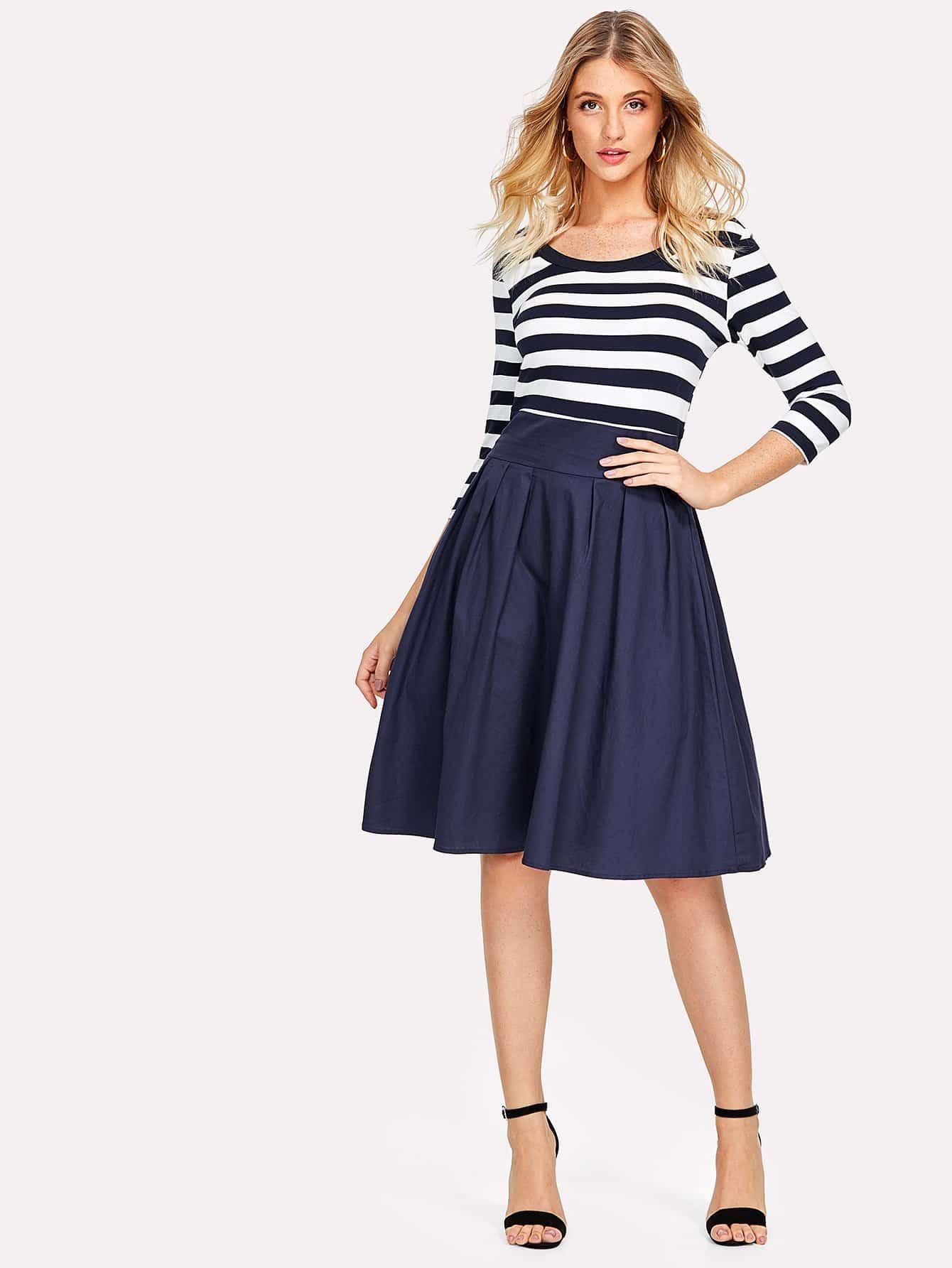 Contrast Striped Zip Up Side Dress zip up side plaid dress