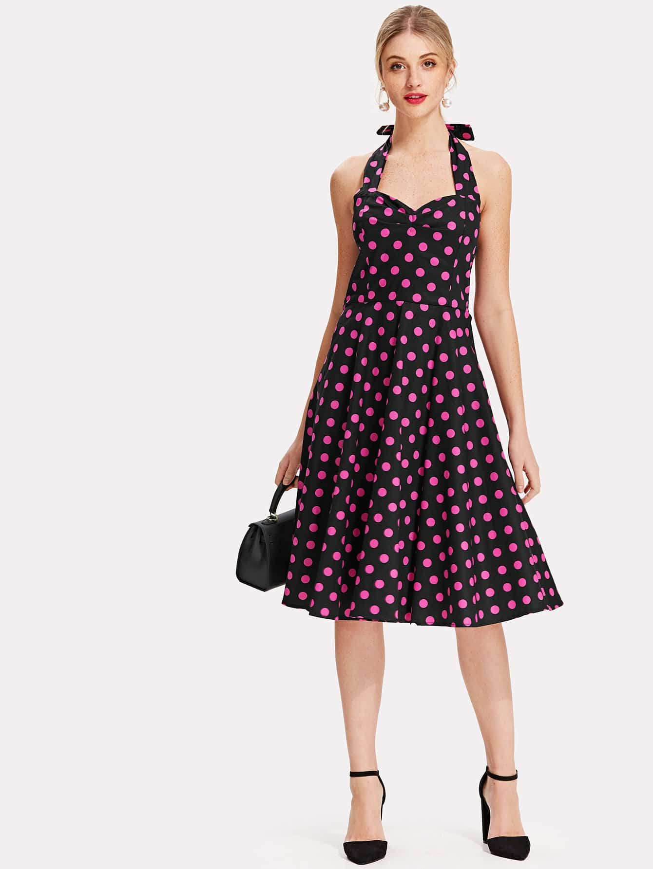Knot Back Polka Dot Halter Dress knot back polka dot wrap top