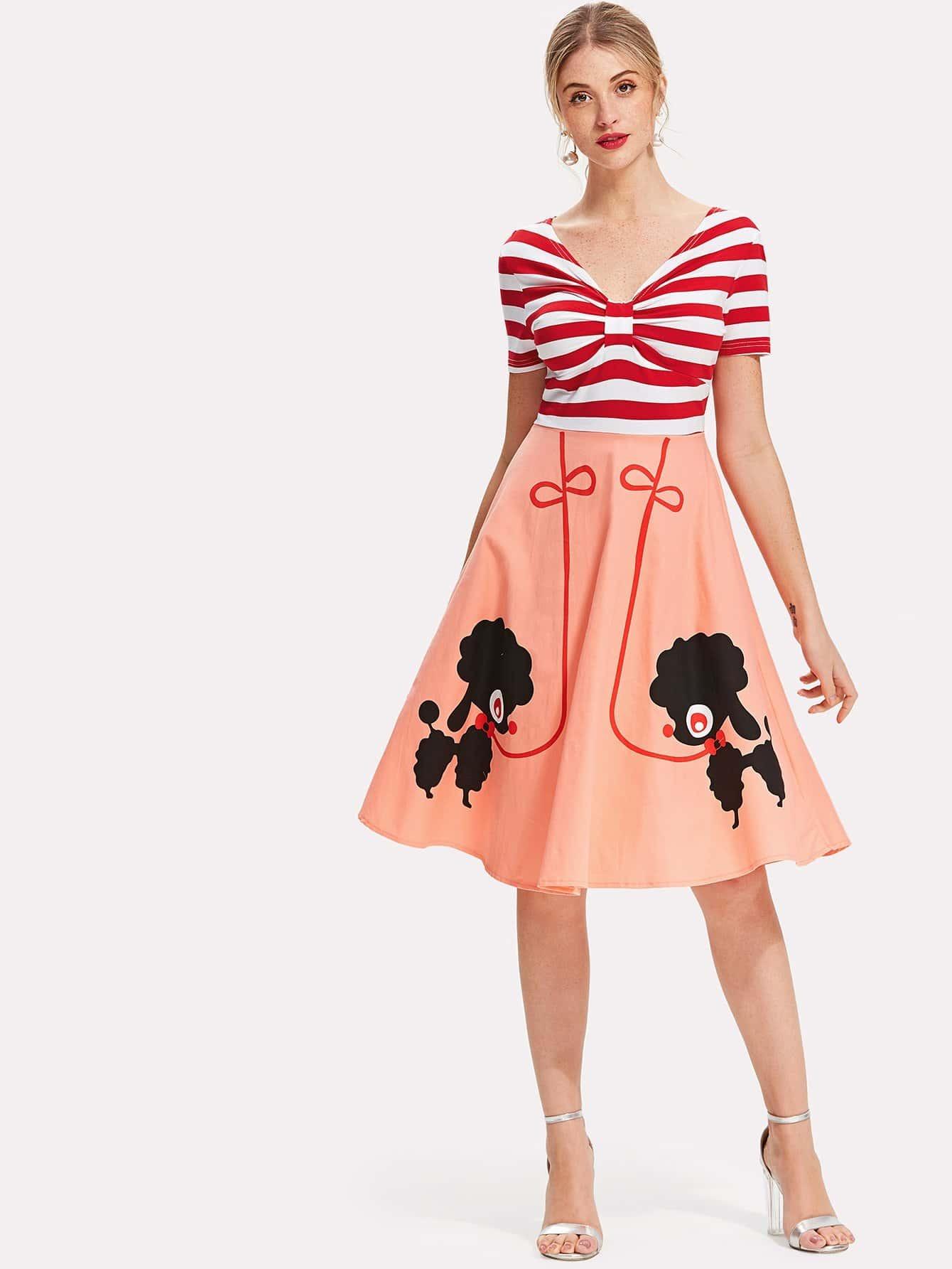 Cartoon Print Contrast Striped Dress contrast lace striped star print dress