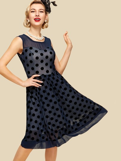 Sheer Mesh Polka Dot Zip Detail Dress