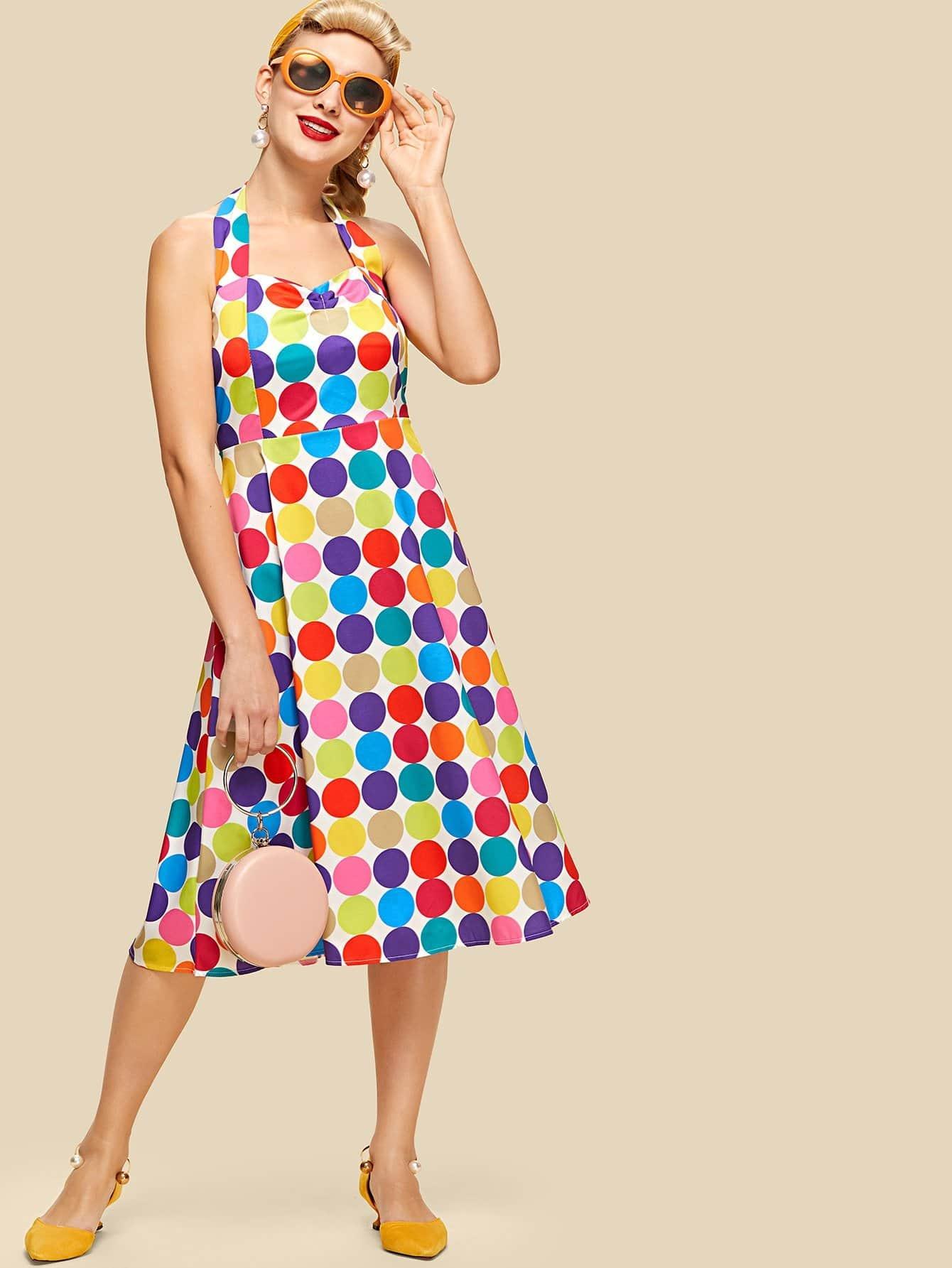 Spot Print Knot Back Halter Dress mixed print colorblock knot back halter dress