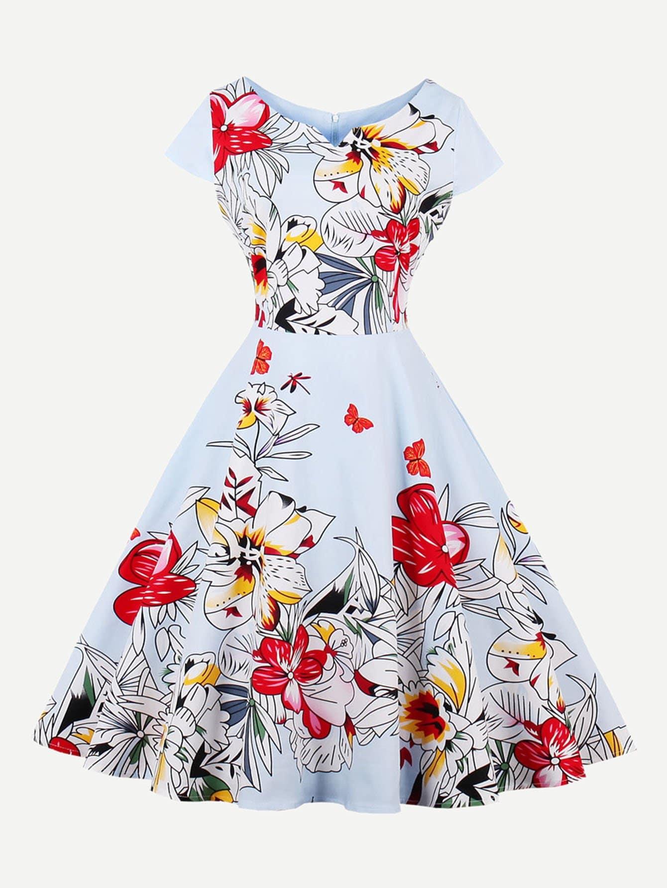 Купить Платье с v-образным воротником, null, SheIn