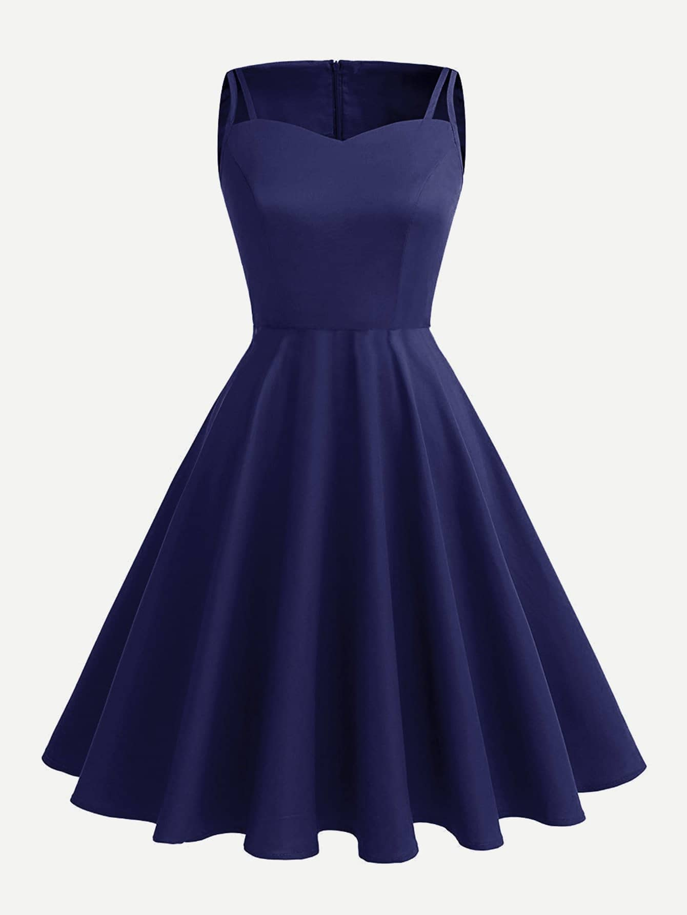 Cut Out Detail Swing Dress cut out detail fit and flared sleeveless dress