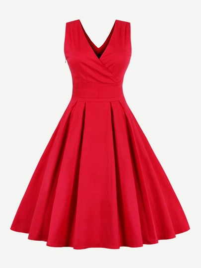 Surplice Wrap Double Plunge Tie Waist Dress