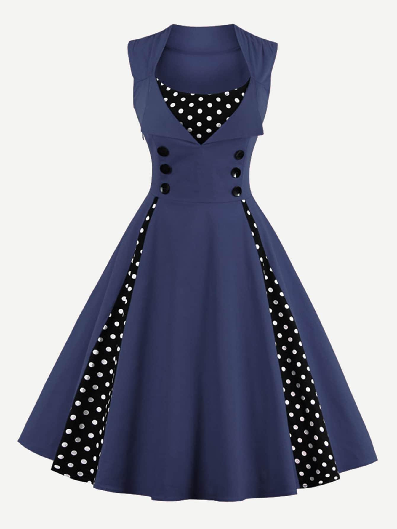 Contrast Polka Dot Foldover Circle Dress contrast collar foldover front dress