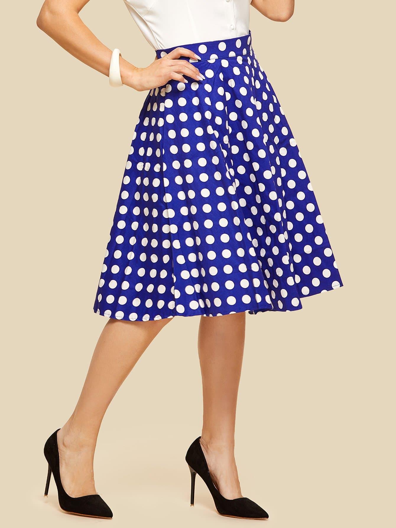 Zipper Back Dot Skirt