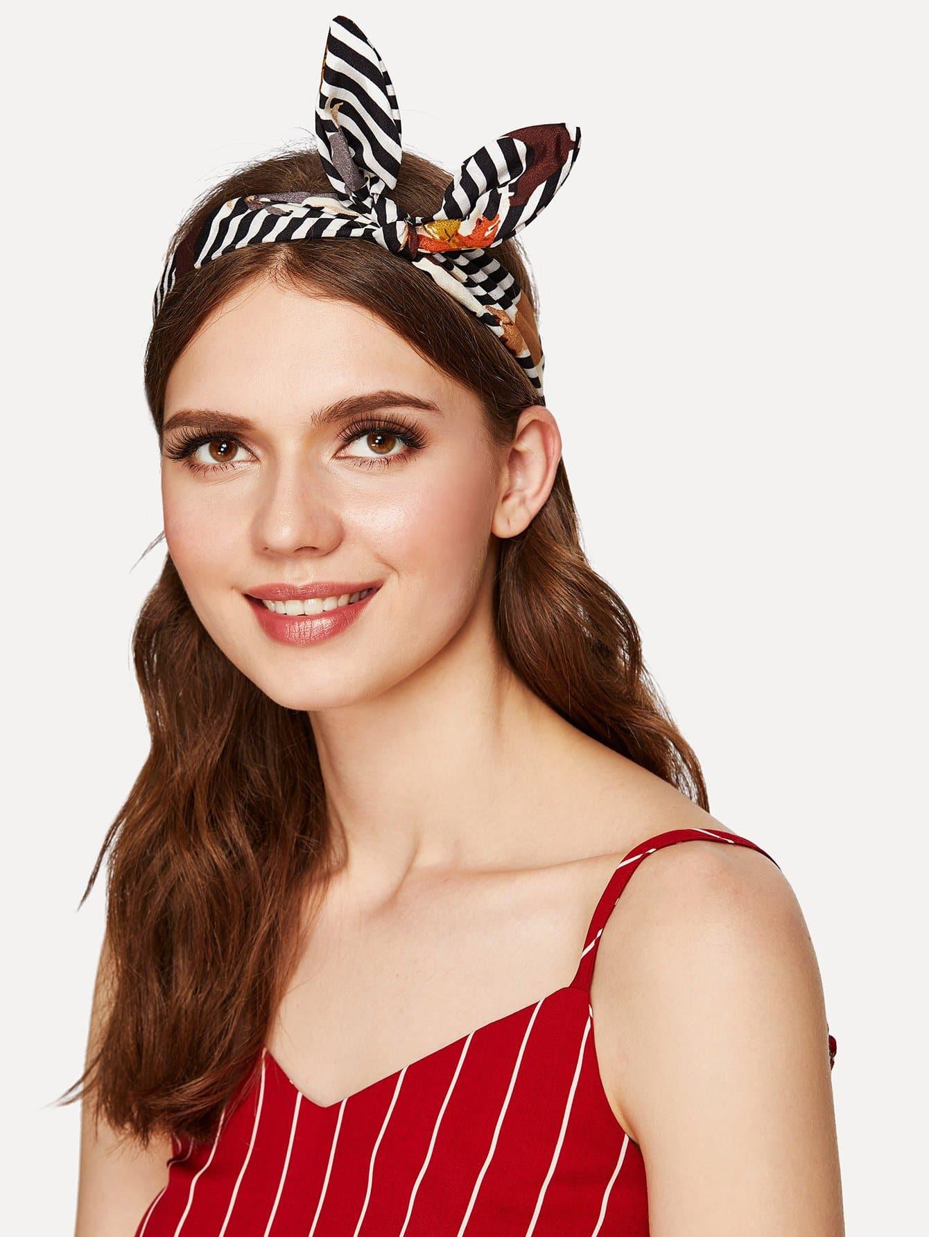 Mixed Print Bow Knot Headband 1pc kawaii cute lovely girls stretch ear turban knot hairband rabbit bow headband hair band accessories
