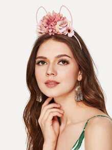 Flower Embellished Ear Design Headband