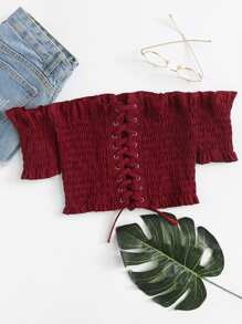 Frill Trim Lace Up Pleated Top