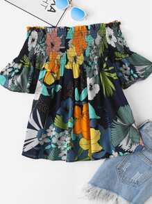 Off Shoulder Floral Print Pleated Top