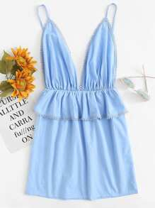 Deep V Neckline Ruffle Trim Cami Dress