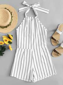 Cut Out Back Striped Halter Romper