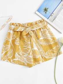 Leaf Print Self Tie Waist Shorts