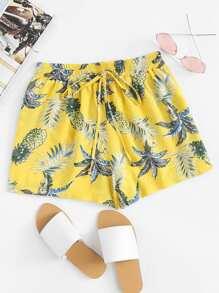 Pineapple Print Drawstring Waist Shorts