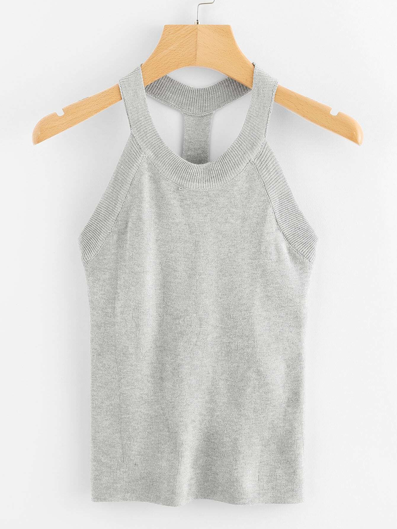 Ribbed Trim Knit Tank Top