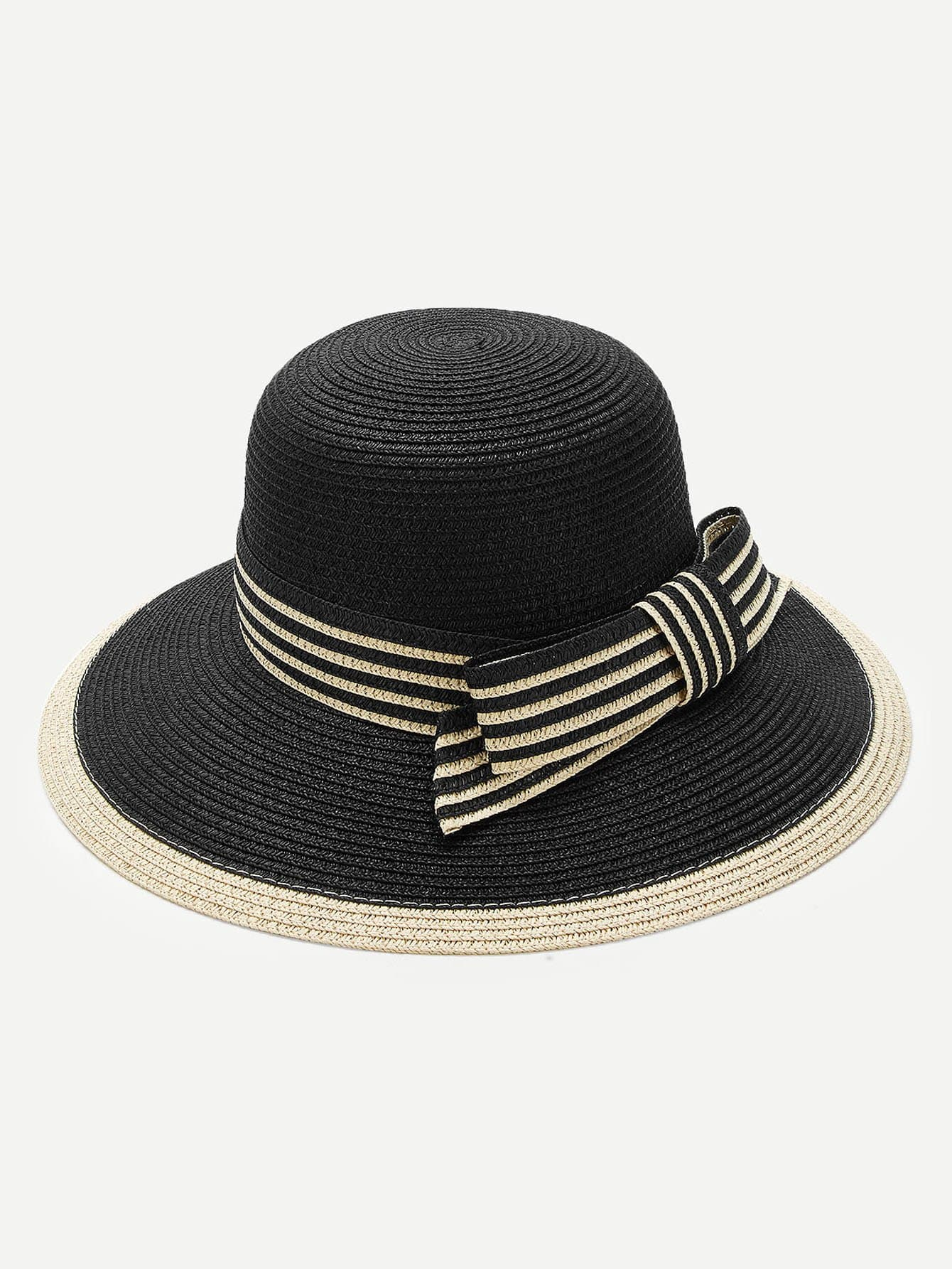 Striped Band Straw Hat knot band straw hat