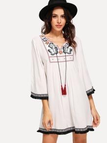 Tassel Tie Embroidered Yoke Fringe Tape Trim Dress