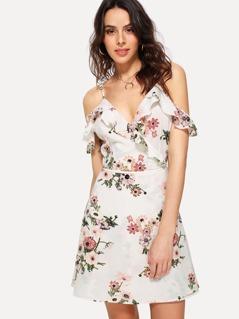Ruffle V Neck Floral Wrap Cami Dress