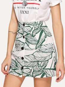 Jungle Leaf Print Button Up Skirt