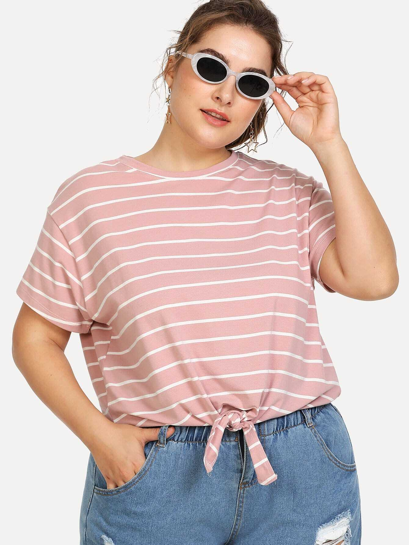 Knot Front Striped Tee knot front tee