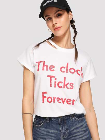 Cutout Neck Slogan Print Tee